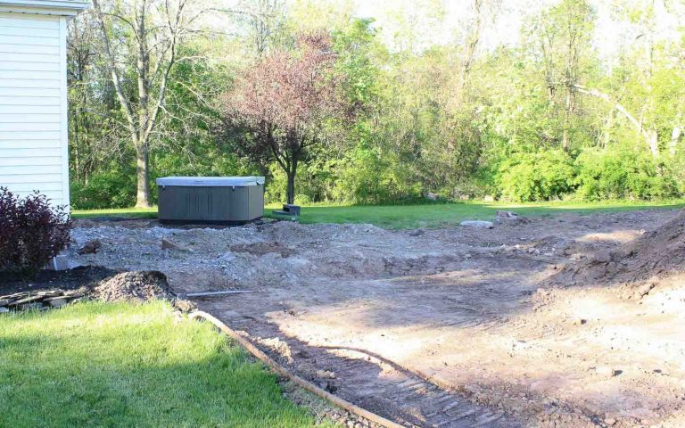 Landscape pool installation Project Before Rochester NY