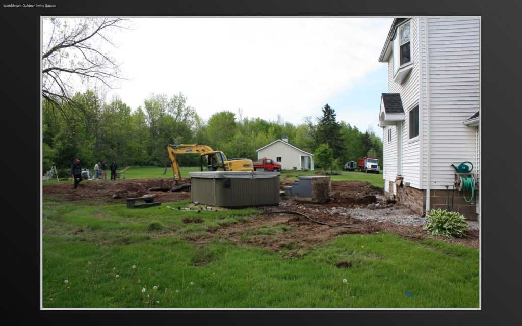 Backyard Before inground Pool and Landscape Renovation in Rochester NY