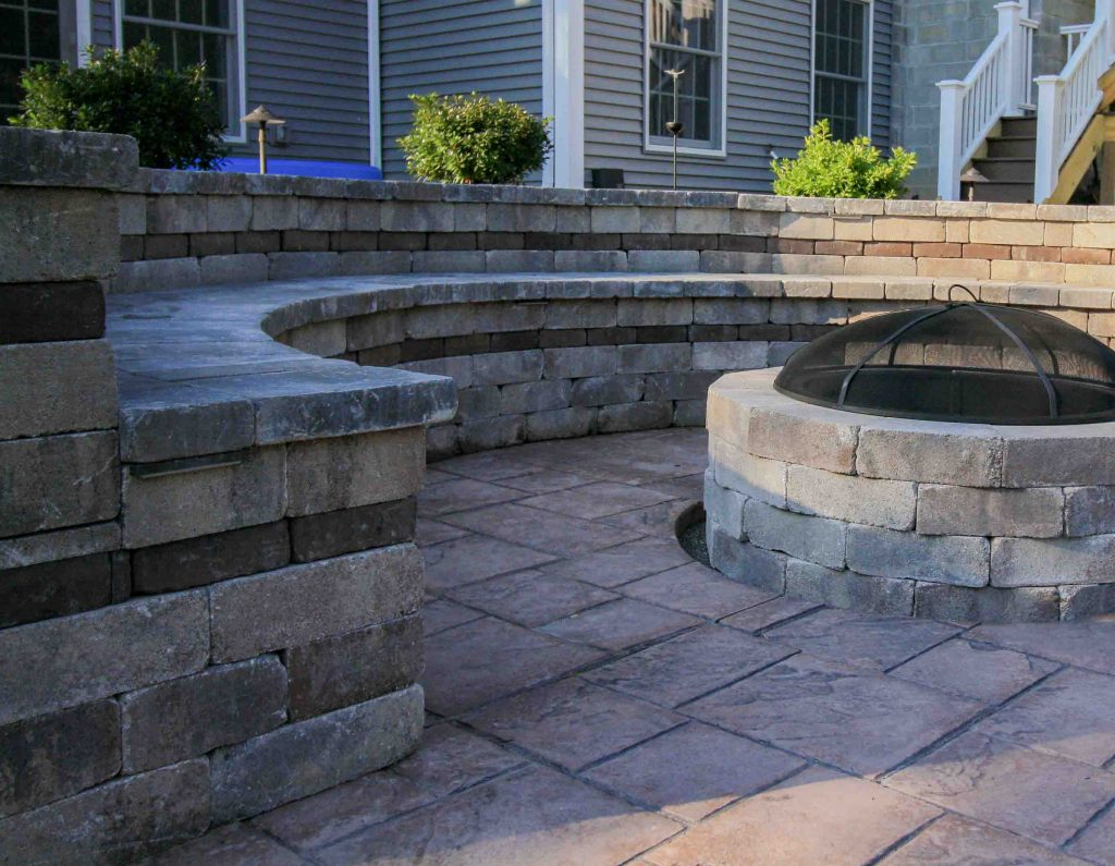 Pool patio using stamped concrete
