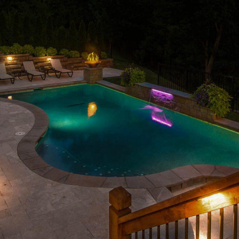 Backyard pools Landscape Lighting