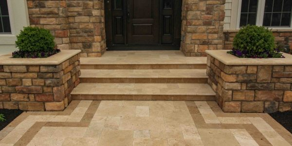 Natural Stone used for walkway in a Front Landscape Greece NY