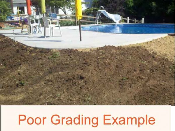 example of Poor grading for inground pool