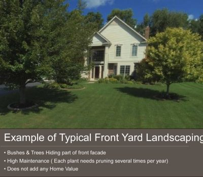Example of Poor front yard landscape design leading to overgrown landscaping
